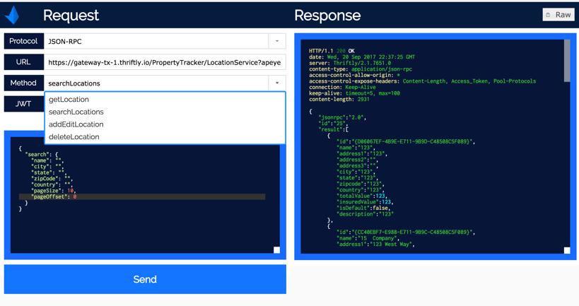 Thriftly API Gateway JSON-RPC